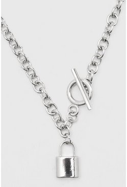 Chunky Chain With Toggle And Padlock, Silver Серебряный