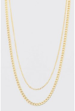 Short Length Double Layer Chain, Gold Металлик