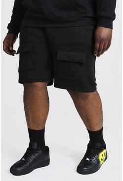 Black Plus Front Cargo Pocket Jersey Short