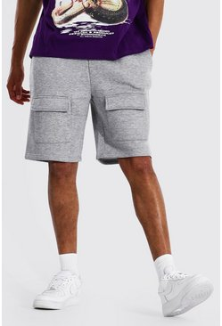 Grey marl Tall Front Cargo Pocket Jersey Short