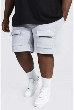 Plus Front Cargo Pocket Jersey Short, Grey marl grau