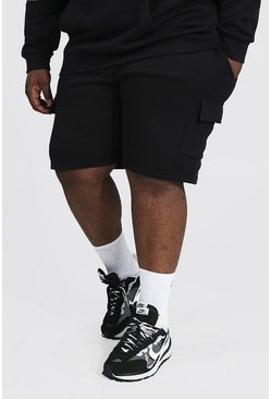 Black Plus Mid Length Basic Cargo Short