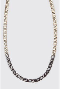 Multi Two-tone Chunky Figaro Chain Necklace