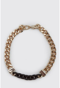 Gold metallic Chunky Contrast Chain Detail Bracelet