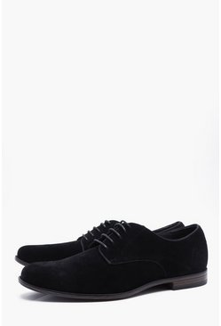 Black Faux Suede Derby
