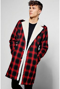 Red Longline Faux Fur Lined Check Overcoat