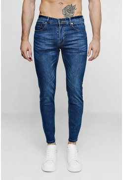 Mid blue blå Skinny Fit Denim Jeans