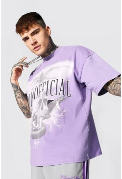 Purple Oversized Extended Neck Official Washed T-shirt