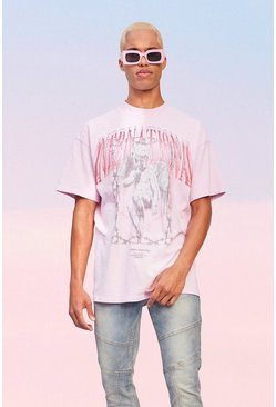 Oversized Extended Neck International Washed T-shirt, Pink Розовый