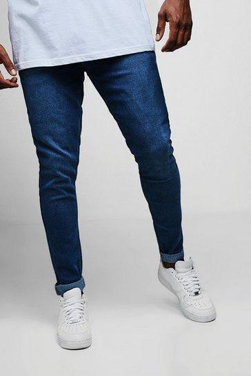 Plus Size Blue Slim Fit Washed Jeans