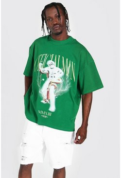 Green Oversized Extended Neck Official Man T-shirt
