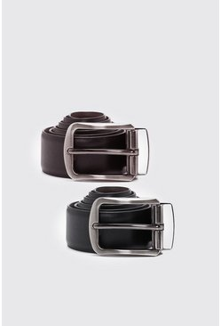 Multi Real Leather Reversible Belt