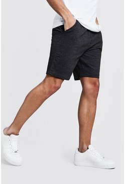 Charcoal grey Basic Mid Length Jersey Shorts