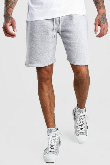 Grey marl Basic Mid Length Jersey Shorts