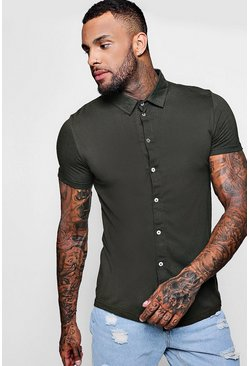 Khaki Short Sleeve Jersey Shirt