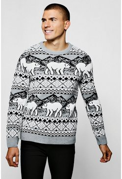 Christmas Polar Bear Fair Isle Jumper In Grey