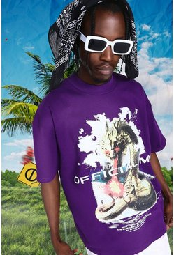 Purple Oversized Extended Neck Official Dragon T-shirt