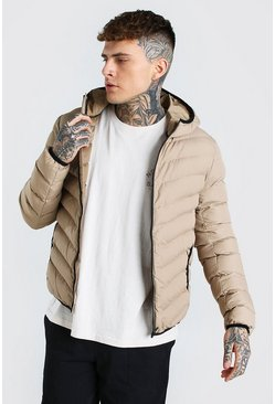Stone beige Quilted Zip Through Jacket With Hood