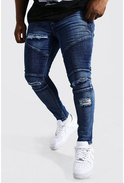 Plus Size Blue Skinny Fit Ripped Biker Jeans