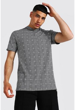 Grey Bomber Neck 1/4 Zip Jacquard Polo