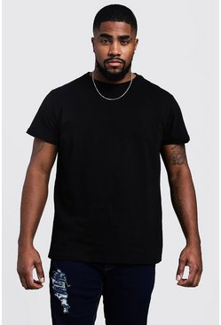 Black Big and Tall Longline Basic T-Shirt