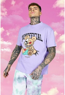 Purple Oversized Official Teddy Rhinestone T-shirt