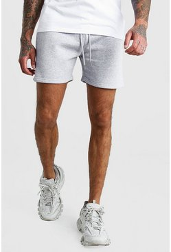 Grey Basic Short Length Jersey Shorts