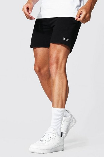 Black Recycled Regular Man Short Jersey Shorts