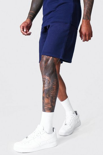 Navy Recycled Regular Fit Jersey Shorts