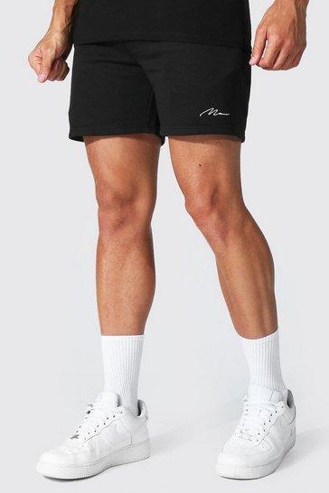Black Regular Man Signature Short Recycled Shorts
