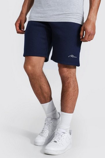Navy Recycled Man Signature Regular Jersey Shorts