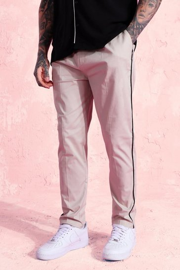 Cream white Twill Tapered Chino Trousers With Piping