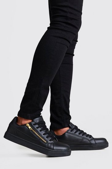 Black Faux Leather Gold Zip Trainer