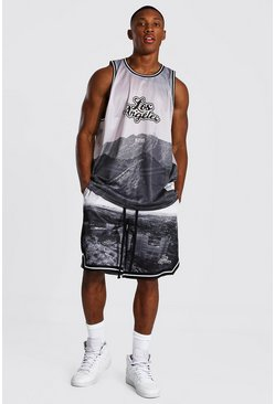 Oversized La Varsity Mesh Vest & Short Set, Grey Серый