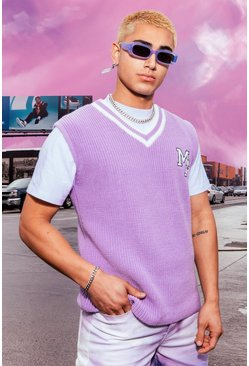 Lilac purple Knitted Varsity Vest