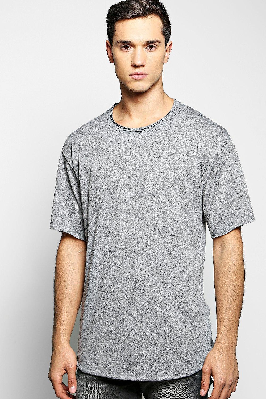 Oversized Denim T Shirt With Raw Edge   boohoo