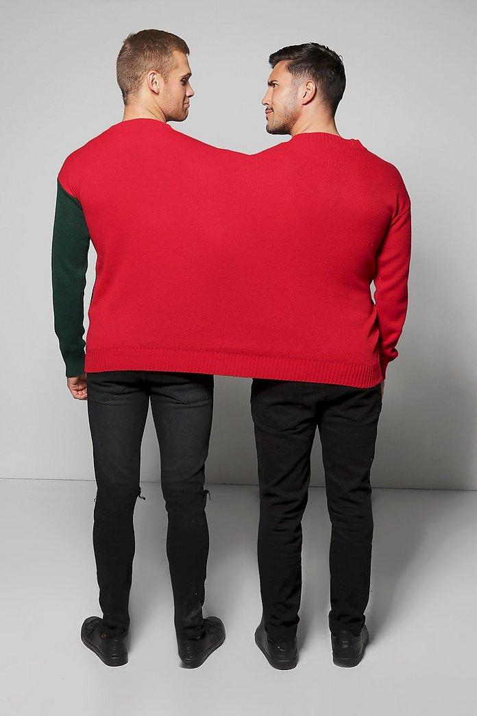 2 Person Elf & Santa Christmas Jumper   Boohoo UK