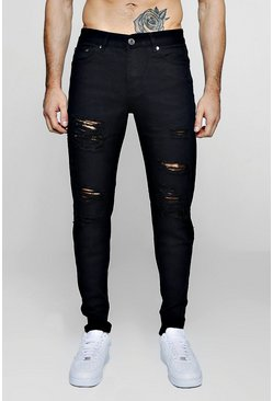 Black Slim Fit Rigid Jeans With Extreme Rips