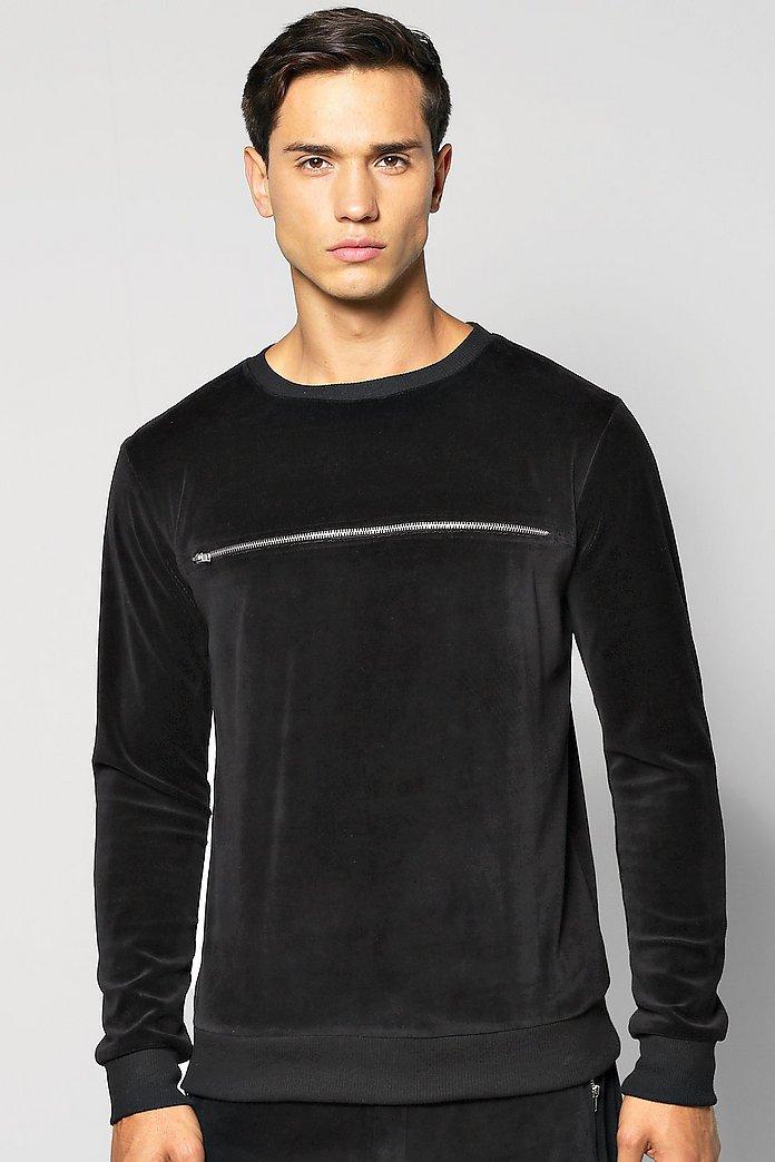 Sweatshirt i velour Svart HERR | H&M SE