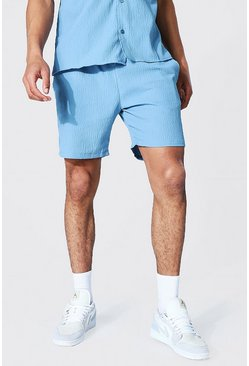 Dusty blue blue Relaxed Fit Seersucker Short