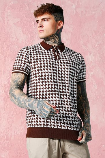 Brown Short Sleeve Dogtooth Knitted Polo