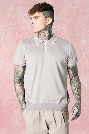 Taupe beige Short Sleeve Knitted Polo With Tipping