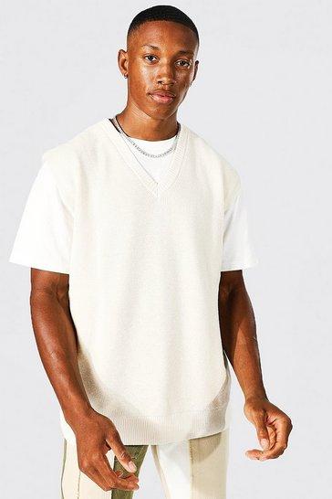 Cream white Oversized Textured V Neck Vest