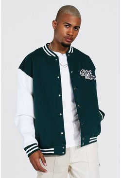 Official Man Jersey Varsity Bomber Jacket, Green gerde