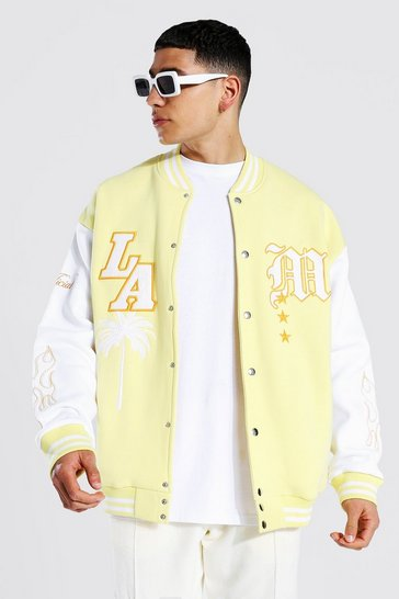Yellow La  Badge Jersey Varsity Bomber Jacket