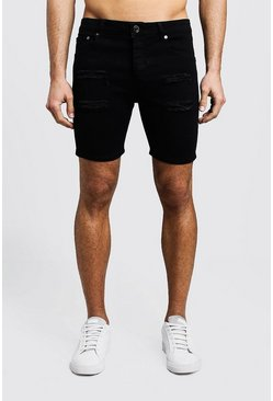 Black Skinny Fit Distressed Denim Shorts