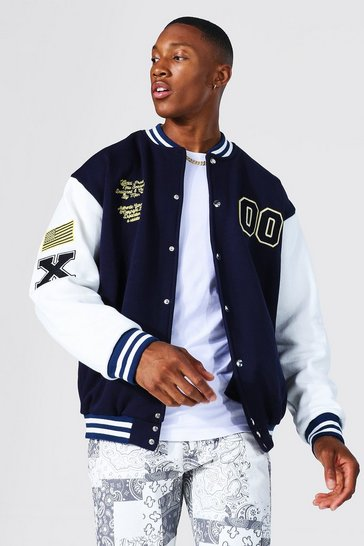 Navy Jersey Varsity Bomber Jacket With Badges