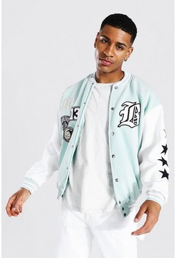 Sage green Los Angeles Jersey Varsity Bomber Jacket