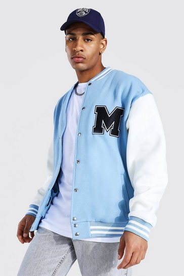 Dusty blue blue M Applique Badge Jersey Varsity Bomber Jacket