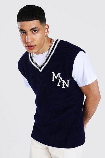 Navy Knitted Varsity Vest